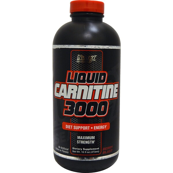 Nutrex Research, Liquid Carnitine 3000, Explosão de Cereja, frasco de 16 oz (473 ml)