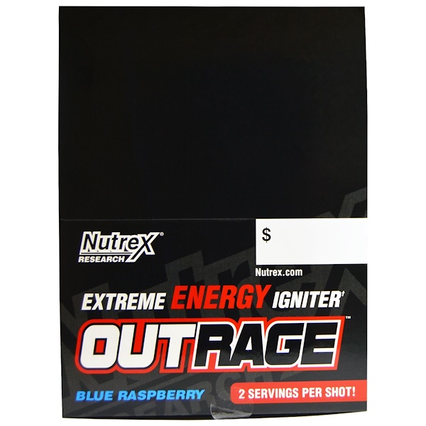 Nutrex Research, Outrage, Extreme Energy Igniter, Blue Raspberry, 12 Bottles, 4 fl oz (118.3 ml) Each (Discontinued Item)