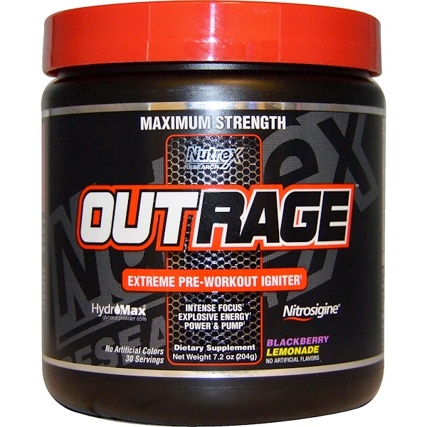 Nutrex Research, Outrage, Extreme Pre-Workout Igniter, Blackberry Lemonade, 7.2 oz (204 g) (Discontinued Item)