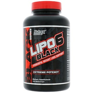 Nutrex Research, Lipo6 Black, Extreme Potency, Weight Loss, 120 Black-Caps