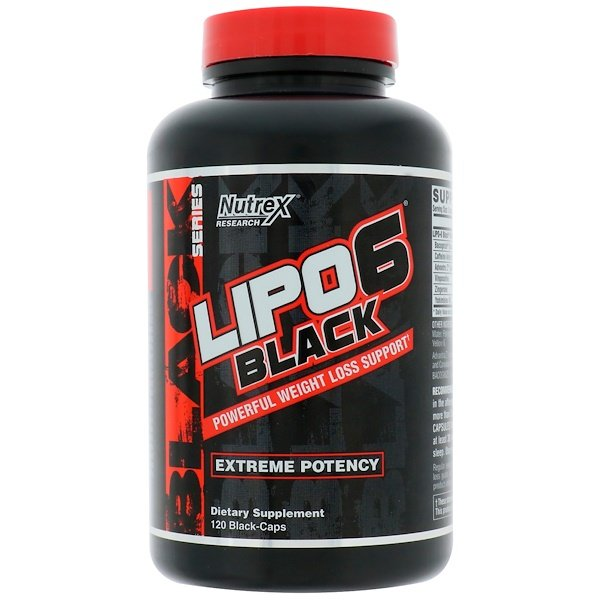 Nutrex Research Labs, Lipo6 Black, Extreme Potency, Weight Loss, 120 Black-Caps
