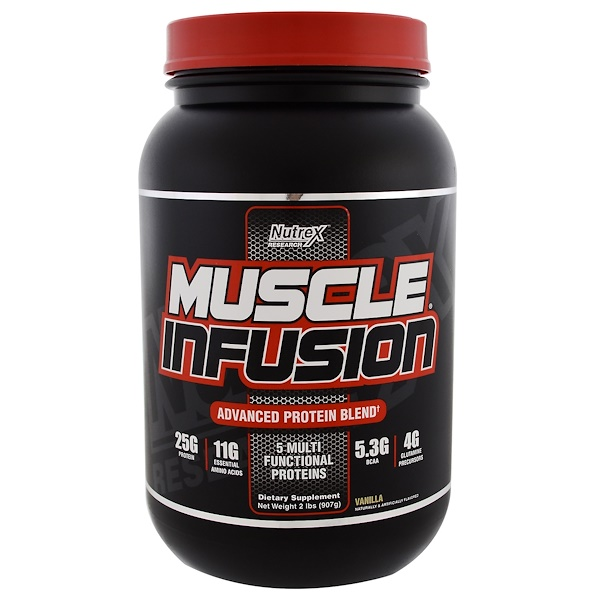 Nutrex Research, Muscle Infusion, Advanced Protein Blend, Vanilla, 2 lbs (907 g) (Discontinued Item)