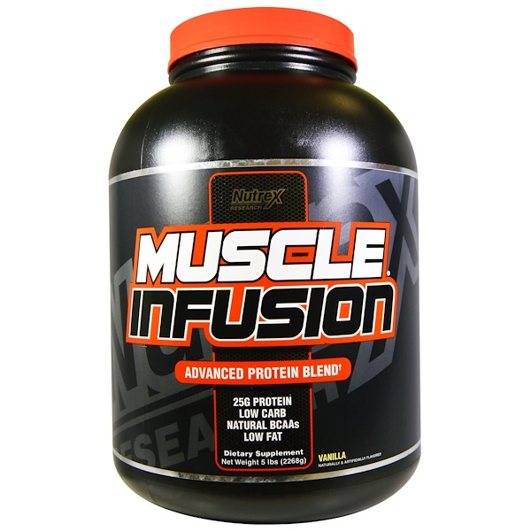 Nutrex Research, Muscle Infusion, Advanced Protein Blend, Vanilla, 5 lbs (2268 g) (Discontinued Item)