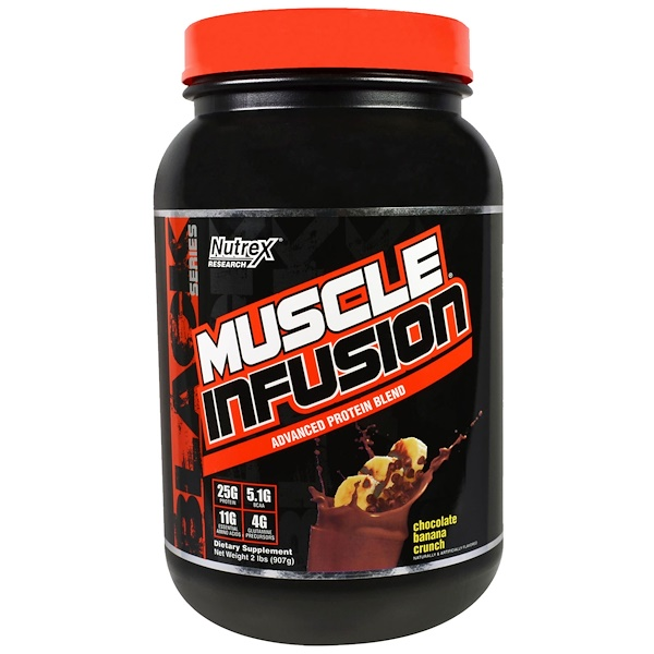 Nutrex Research, Muscle Fusion, Advanced Protein Blend, Chocolate Banana Crunch, 2 lbs (907 g) (Discontinued Item)