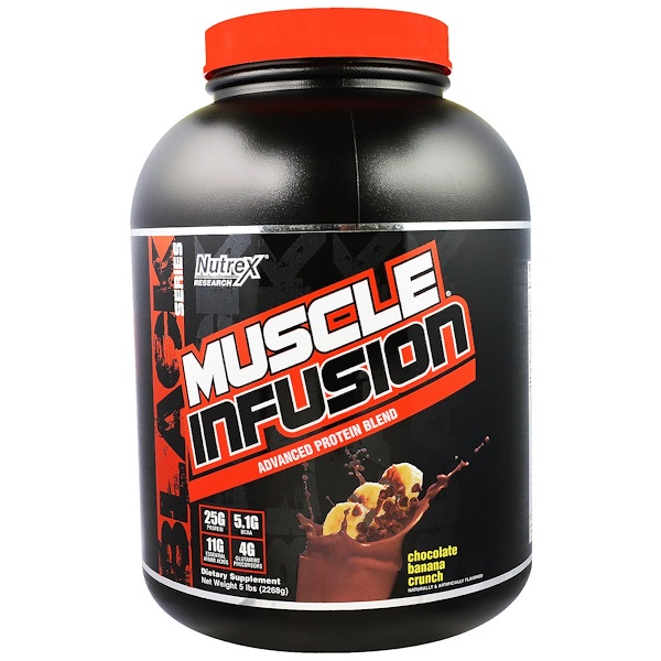 Nutrex Research, Black Series, Muscle Infusion Advanced Protein Blend, Chocolate Banana Crunch, 5 lbs (2268 g) (Discontinued Item)