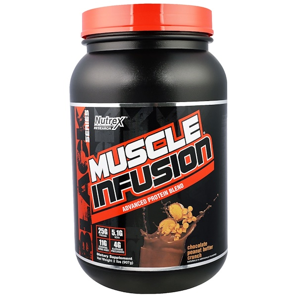Nutrex Research, Muscle Infusion, Advanced Protein Blend, Chocolate Peanut Butter Crunch, 2 lbs (907 g) (Discontinued Item)