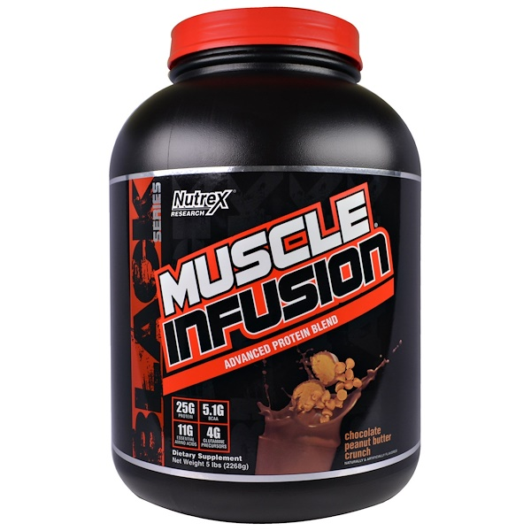 Nutrex Research Labs, Muscle Infusion, Advanced Protein Blend, Chocolate Peanut Butter Crunch, 5 lbs (2268 g) (Discontinued Item)