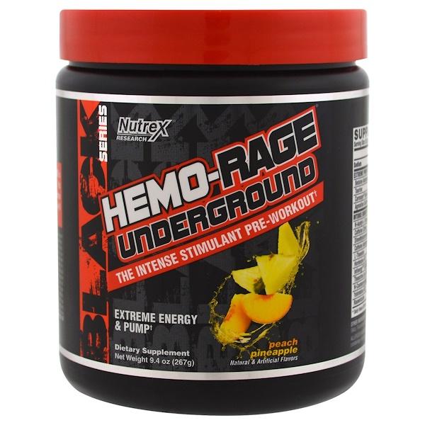 Nutrex Research, 黑色系列,Hemo-Rage地下鐵,蜜桃菠蘿味,9、4盎司(267克)
