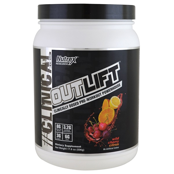 Nutrex Research, Clinical Edge, Outlift, Pre-Workout Powerhouse, Wild Cherry Citrus, 17.8 oz (506 g) (Discontinued Item)
