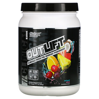 Nutrex Research, Outlift, Clinically Dosed Pre-Workout Powerhouse, Miami Vice, 17.7 oz (502 g)