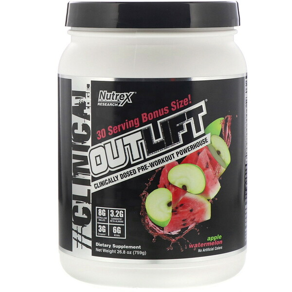 Nutrex Research, Outlift, Clinically Dosed Pre-Workout Powerhouse, Apple Watermelon, 26.8 oz (759 g)
