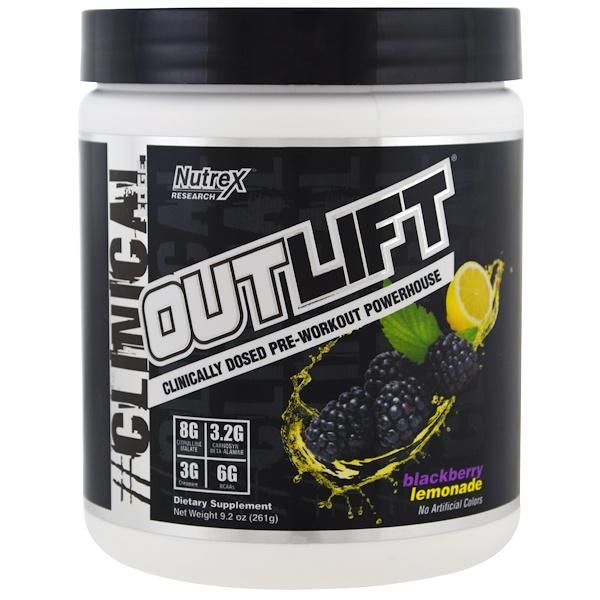 Nutrex Research, Outlift,臨床用量鍛煉前補充劑,黑莓檸檬,9、2 oz (261 g)
