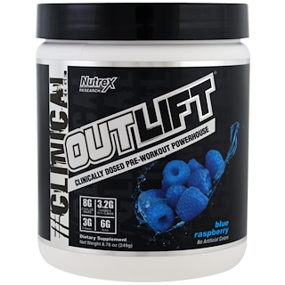 Nutrex Research Labs, Outlift, Clinically Dosed Pre-Workout Powerhouse, Blue Raspberry, 8.78 oz (249 g)