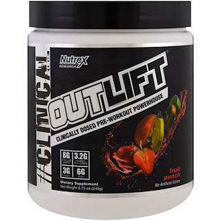 Nutrex Research Labs, Outlift,Clinically Dosed Pre-Workout Powerhouse, Fruit Punch, 8.75 oz (248 g)