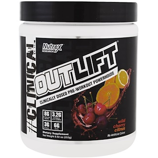 Nutrex Research Labs, Outlift, Clinically Dosed Pre-Workout Powerhouse, Wild Cherry Citrus, 8.92 oz (253 g)