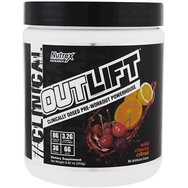 Nutrex Research, Outlift,臨床用量鍛煉前能量補充劑,野櫻桃柑橘,8、92 oz (253 g)