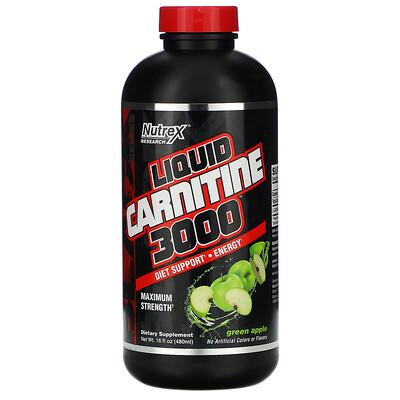 Купить Nutrex Research Black Series, Liquid Carnitine 3000, зеленое яблоко, 480 мл (16 жидких унций)
