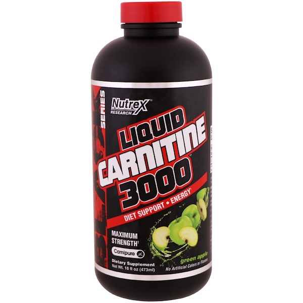 Nutrex Research, Carnitina líquida 3000, maçã verde, 16 fl oz (473 ml)