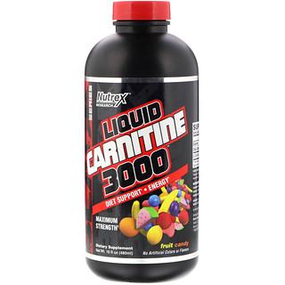 Nutrex Research, リキッドカルニチン3000、フルーツキャンディー、16 fl oz (480 ml)