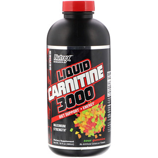 Nutrex Research, リキッドカルニチン3000、サワーグミ、16 fl oz (480 ml)