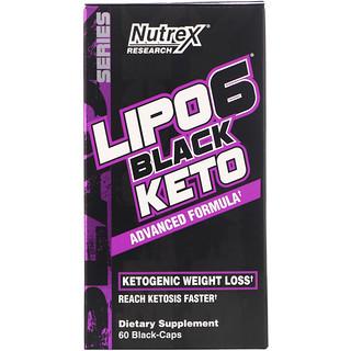 Nutrex Research, LIPO-6 Black Keto, Advanced Formula, 60 Black-Caps