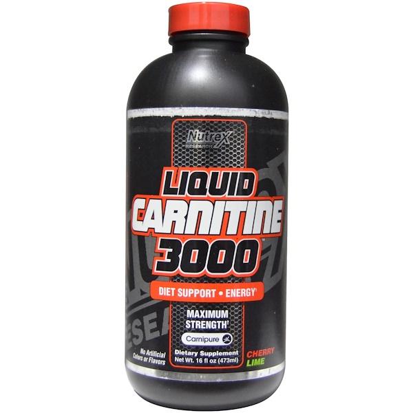 Nutrex Research, Liquid Carnitine 3000, Cherry Lime, 16 fl oz (473 ml) (Discontinued Item)