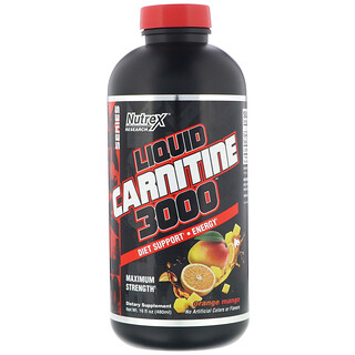 Nutrex Research, Liquid Carnitine 3000, Orange Mango, 16 fl oz (480 ml)