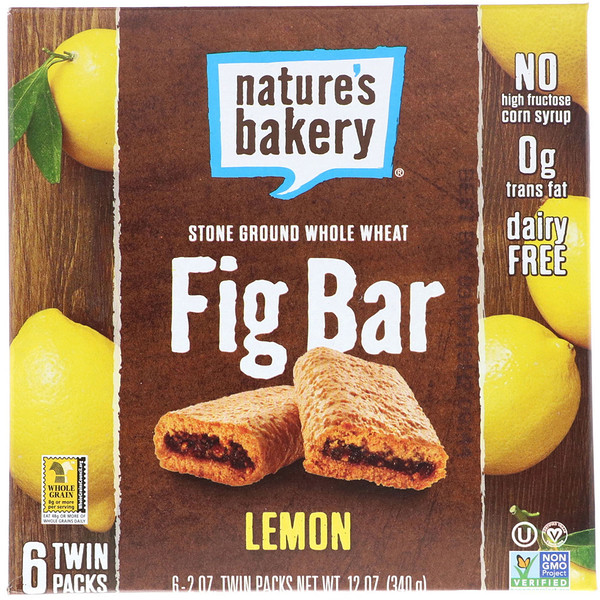 Nature's Bakery, Fig Bar, Lemon, 6 Twin Packs, 2 oz Each