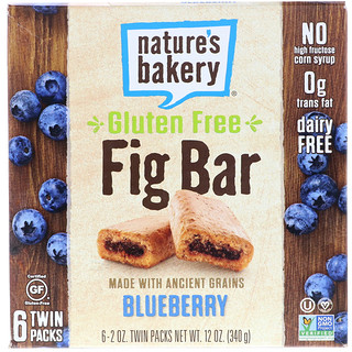 Nature's Bakery, Gluten Free Fig Bar, Blueberry, 6 Twin Packs, 2 oz Each
