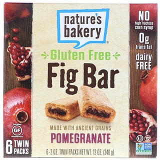 Nature's Bakery, Gluten Free Fig Bar, Pomegranate, 6 Twin Packs, 2 oz Each