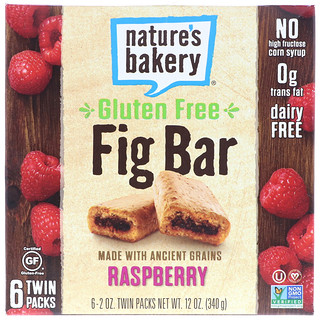 Nature's Bakery, Gluten Free Fig Bar, Raspberry, 6 Twin Packs, 2 oz Each
