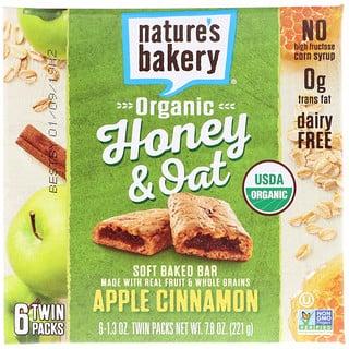 Nature's Bakery, الشوفان مع العسل العضوي، قالب طري مخبوز، تفاح وقرفة، 6 عبوات مزدوجة، 1.3 أونصة لكل عبوة