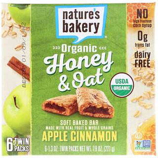 Nature's Bakery, Organic Honey & Oat, Soft Baked Bar, Apple Cinnamon, 6 Twin Packs, 1.3 oz Each