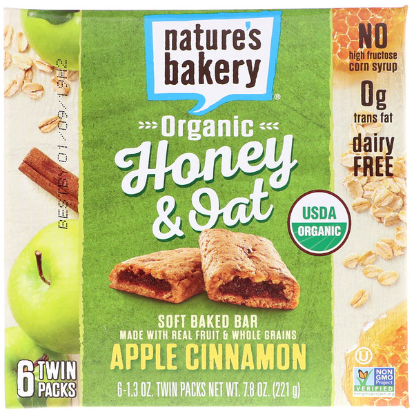 Nature's Bakery, Organic Honey & Oat, Soft Baked Bar, Apple Cinnamon, 6 Twin Packs, 1.3 oz Each (Discontinued Item)