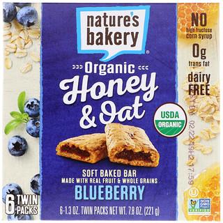 Nature's Bakery, Organic Honey & Oat, Soft Baked Bars, Blueberry, 6 Twin Packs, 1.3 oz Each