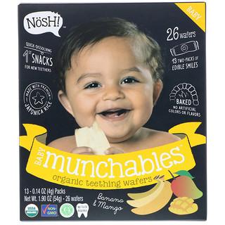 NosH!, Baby Munchables, obleas orgánicas para dentición, plátano y mango, paquete con 13, 0.14 onzas (4 gramos) cada uno