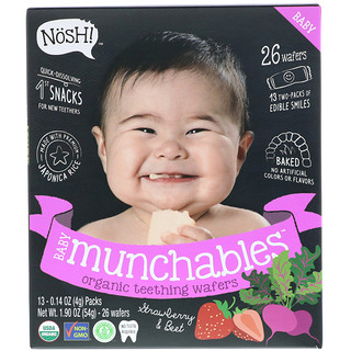 NosH!, Baby Munchables, obleas orgánicas para la dentición, fresa y betabel, paquete de 13, 0,14 onzas (4 gramos) cada uno