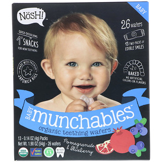 NosH!, Baby Munchables, Organic Teething Wafers, Pomegranate & Blueberry, 13 Packs, 0.14 oz (4 g) Each