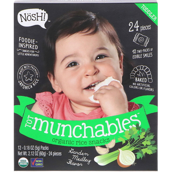 NosH!, Tot Munchables, Organic Rice Snacks, Garden Medley Flavor, 12 Packs, 0.18 oz (5 g) Each