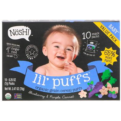 NosH! Baby Lil' Puffs, Organic Grain Cereal Puffs, Blueberry & Purple Carrot, 10 Packs, 0.25 oz (7 g) Each