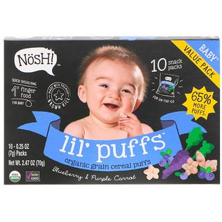 NosH!, Baby Lil' Puffs, cereal inflado de granos orgánicos, mora azul y zanahoria morada, paquete de 10, 0.25 onzas (7 gramos) cada uno