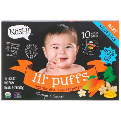 NosH! Baby Lil' Puffs, Organic Grain Cereal Puffs, Mango & Carrot, 10 Packs, 0.25 oz (7 g) Each