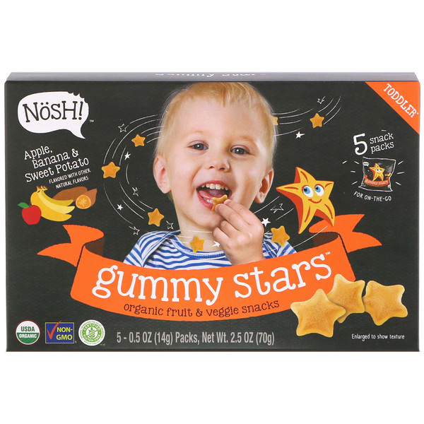 NosH!, Toddler Gummy Stars, Organic Fruit & Veggie Snacks, Apple, Banana & Sweet Potato, 5 Packs, 0.5 oz (14 g) Each (Discontinued Item)