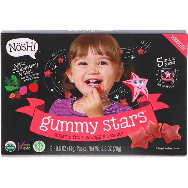NosH!, Toddler Gummy Stars, Organic Fruit & Veggie Snacks, Apple, Strawberry & Beet, 5 Packs, 0.5 oz (14 g) Each (Discontinued Item)