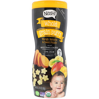 NosH!, Baby, Whole Grain Puffs, Organic Cereal Snack, Mango, Banana & Sweet Potato, 2.10 oz (60 g)