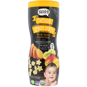 NosH!, Baby, Whole Grain Puffs, Organic Cereal Snack, Mango, Banana & Sweet Potato, 2.10 oz (60 g)