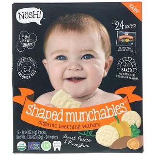 NosH!, Baby Shaped Munchables, obleas orgánicas para dentición, batata y calabaza, 12 packs, 0,14 oz (4 g) cada uno