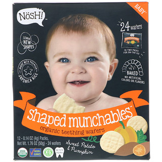 NosH!, Baby Shaped Munchables, Organic Teething Wafers, Sweet Potato & Pumpkin, 12 Packs, 0.14 oz (4 g) Each