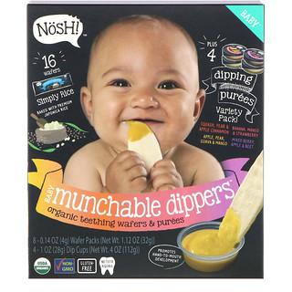 NosH!, Baby Munchables Dippers, obleas y purés orgánicos para dentición, pack de sabores variados, packs de 8 obleas y 4 recipientes de puré