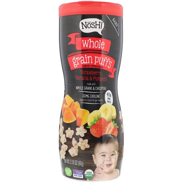 NosH!, Baby, Whole Grain Puffs, Organic Cereal Snack, Strawberry, Banana & Pumpkin, 2.10 oz (60 g) (Discontinued Item)